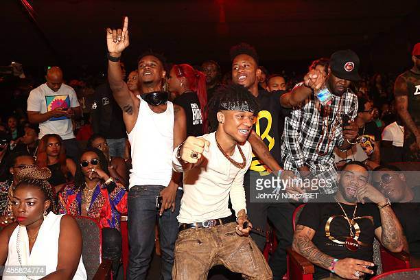 Swae Lee and Slim Jimmy of Rae Sremmurd and guests in the audience during the BET Hip Hop Awards 2014 at Boisfeuillet Jones Atlanta Civic Center on...