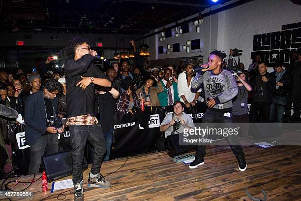 Swae Lee and Slim Jimmy of Rae Sremmurd perform onstage at The Fader Fort Presented By Converse at Converse Rubber Tracks Studio on October 23 2014...