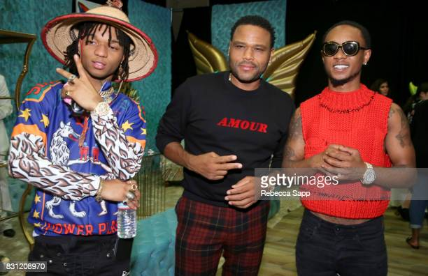 Swae Lee and Slim Jimmy of Rae Sremmurd with Anthony Anderson at Backstage Creations Celebrity Retreat at Teen Choice 2017 Day 2 at Galen Center on...