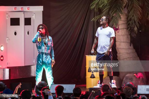 Swae Lee and Slim Jxmmi of Rae Sremmurd perform at Ruoff Home Mortgage Music Center on July 31 2018 in Indianapolis Indiana