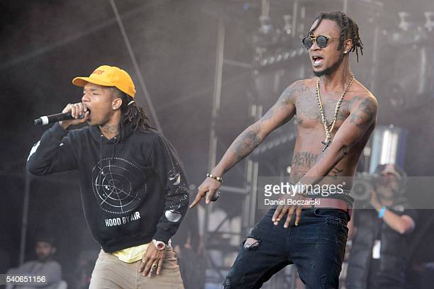 Swae Lee annd Slim Jxmmi of Rae Stremmurd perform during the Doritos #MixArcade at LA LIVE on June 14 2016 in Los Angeles California