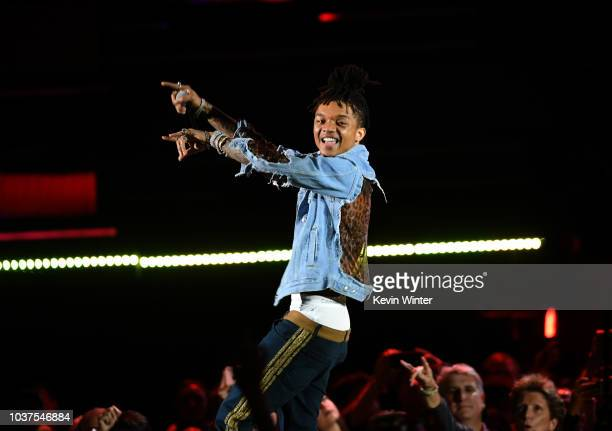 Swae Lee of Rae Sremmurd performs performs onstage during the 2018 iHeartRadio Music Festival at TMobile Arena on September 21 2018 in Las Vegas...