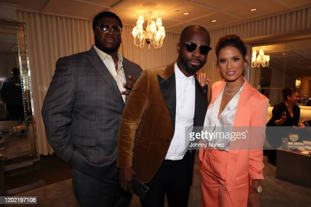 Swagg R'Celious Bryan Michael Cox and Rocsi Diaz attend the Bryan Michael Cox 16th Annual Music And Memory PreGrammy Brunch 2020 at SLS Hotel on...