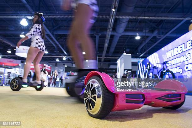 A Swagway LLC Swagtron T3 self balancing hoverboard is arranged for a photograph at the 2017 Consumer Electronics Show in Las Vegas Nevada US on...