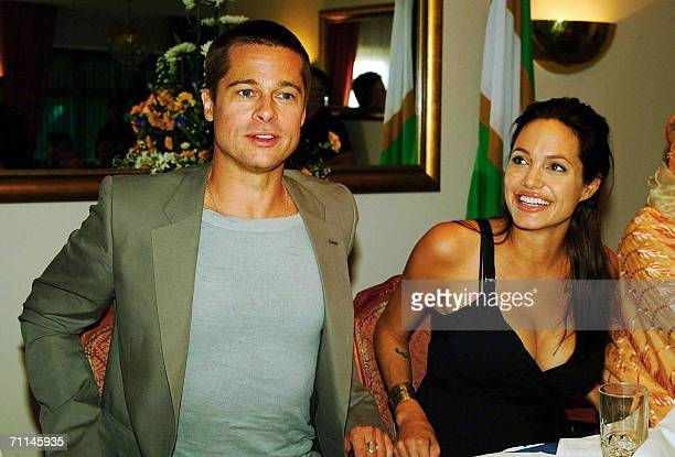 Hollywood couple Angelina Jolie and Brad Pitt give a press conference 07 June 2006 at a Swakopmund hotel Hollywood's hottest couple became the proud...