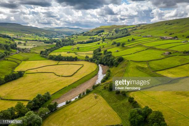 swaledale farms - rural scene stock pictures, royalty-free photos & images