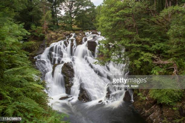 swallow falls on afon llugwy near betws-y-coed, snowdonia national park, wales, uk - north wales stock pictures, royalty-free photos & images