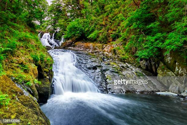 swallow falls waterfall, snowdonia, wales - snowdonia stock photos and pictures