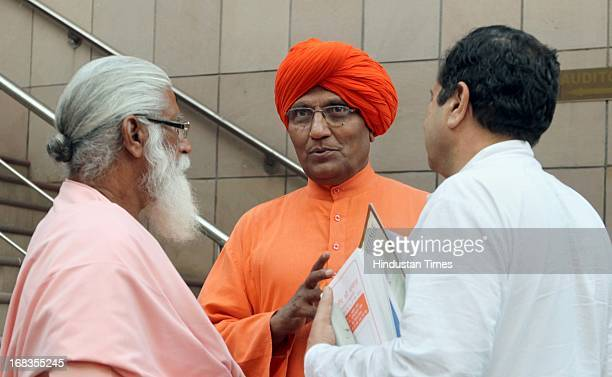 Swami Agnivesh with other leaders during the Hindu Muslim leaders meeting for Babri Masjid issue in Islamic Centre on October 20 2010 in New Delhi...