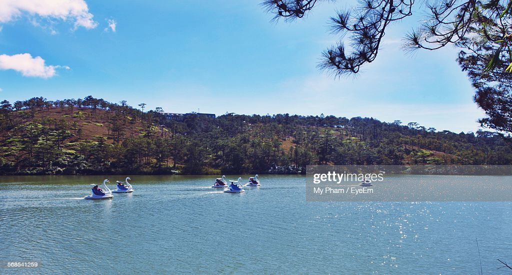 Swan Boats In Lake Against Sky At Love Valley : Stock Photo