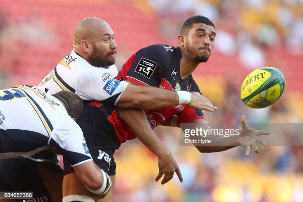Swan Rebbadj of Toulon passes during the Rugby Global Tens match Toulon and Brumbies at Suncorp Stadium on February 11 2017 in Brisbane Australia