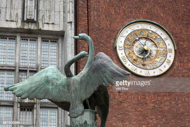 Swan sculpture and clock, City Hall, the Radhuset and Radhus, Oslo, Norway. Nobel Peace Prize ceremony venue.