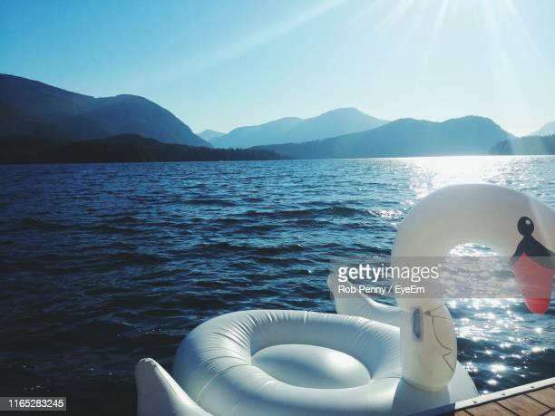 swan shaped inflatable raft in lake against mountains and clear blue sky during sunny day - bote inflável - fotografias e filmes do acervo
