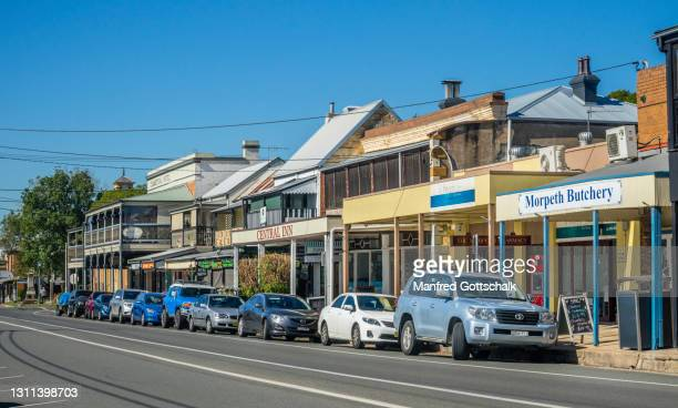 swan street in historic morpeth in the hunter region of new south wales, australia, july 5, 2018 - morpeth stock pictures, royalty-free photos & images