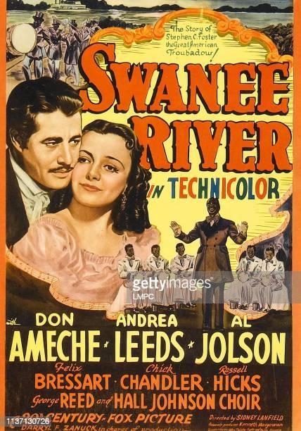 Don Ameche Andrea Leeds Al Jolson on midget window card 1939