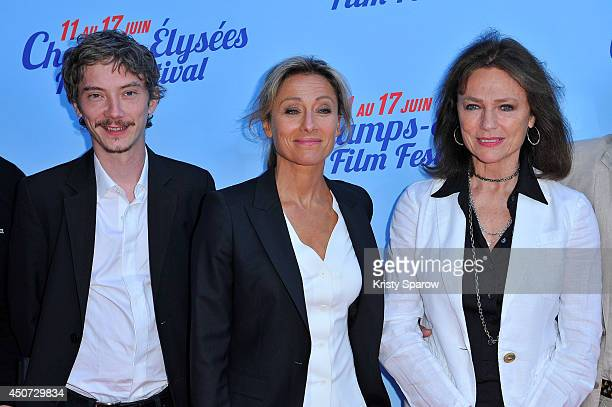 Swann Arlaud AnneSophie Lapix and Jacqueline Bisset attend the Bon Retablissement Paris Premiere during Day 6 of the Champs Elysees Film Festival on...