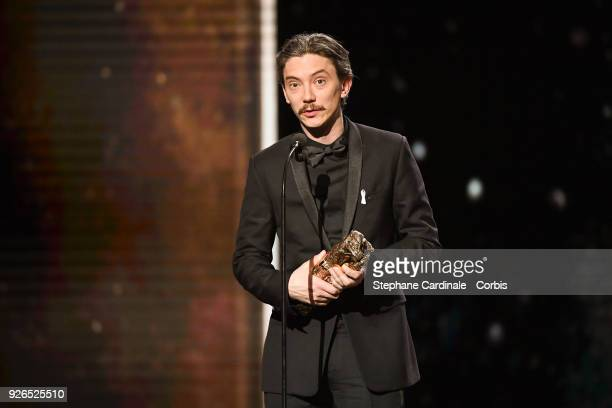 Swann Arlaud receives the Best Actor Award for the movie 'Petit Paysan' during the ceremony of the Cesar Film Awards 2018 at Salle Pleyel on March 2...