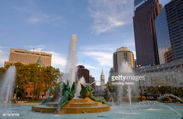 Swann Memorial Fountain at Logan Circle by Alexander Stirling Calder designed with architect Wilson Eyre, City Hall in Background, Philadelphia,...