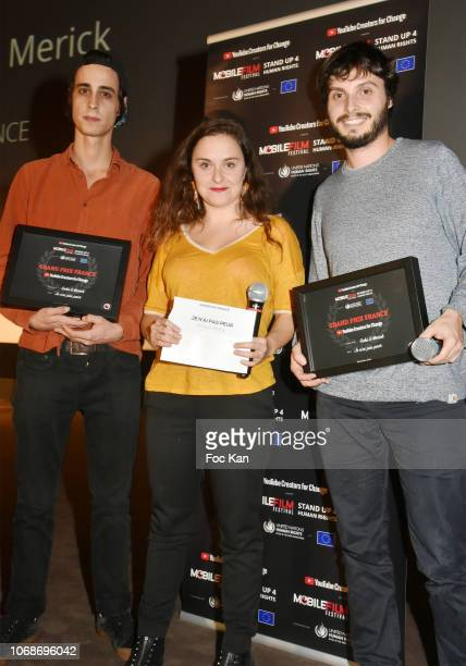 Swann Perisse and 'Je N' Ai Pas Peur' Grand Prix France awarded directors Gohu et Merick attend the 'Mobile Film Festival Stand Up 4 Human Rights...