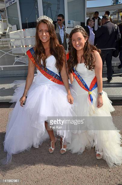 Swanny Lapaumerouzie 'Miss Foire du Trone 2012' and Tiphaine Gratepanche 'Miss Fete Neuneu 2012' attend the Yannick Noah Gives Press Conference For...