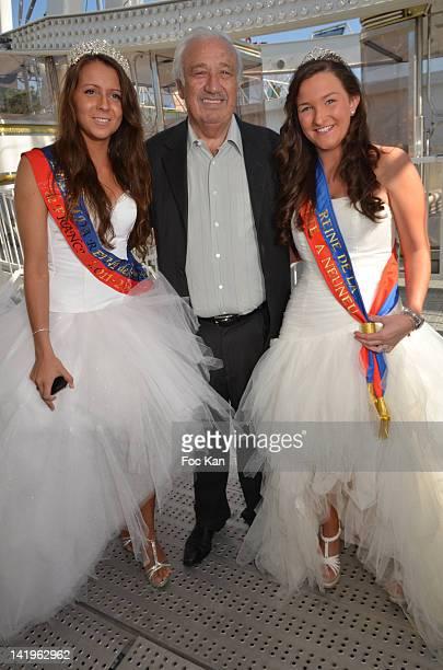 Swanny Lapaumerouzie 'Miss Foire du Trone 2012' Foire du Trone CEO Marcel Campion and Tiphaine Gratepanche 'Miss Fete Neuneu 2012' attend the Yannick...
