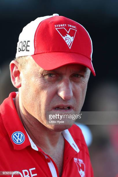 Swans coach John Longmire during the AFL JLT Community Series match between the Brisbane Lions and the Sydney Swans at Moreton Bay Central Sports...