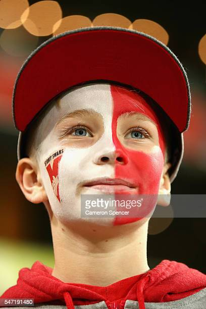 Swans fan shows his colours during the round 17 AFL match between the Sydney Swans and the Hawthorn Hawks at Sydney Cricket Ground on July 14 2016 in...
