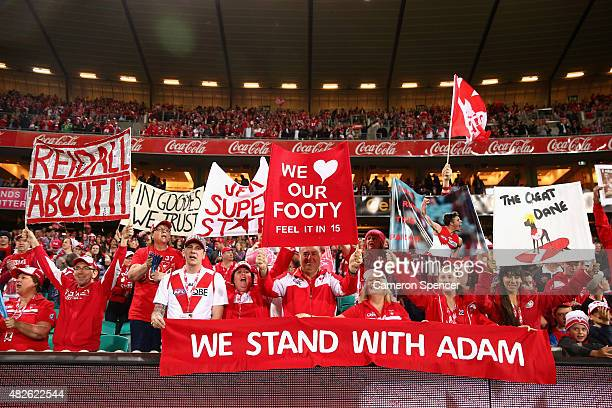 Swans fans celebrate winning the round 18 AFL match between the Sydney Swans and the Adelaide Crows at Sydney Cricket Ground on August 1 2015 in...