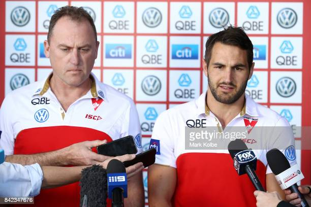 Swans head coach John Longmire and captain Josh Kennedy speak to the media during a Sydney Swans AFL media opportunity at Sydney Cricket Ground on...