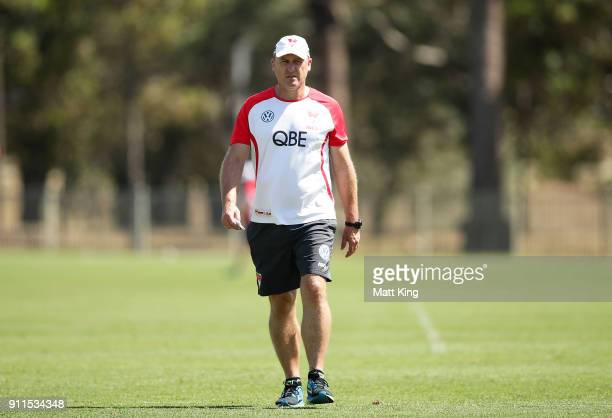 Swans head coach John Longmire looks on during the Sydney Swans AFL preseason training session at Lakeside Oval on January 29 2018 in Sydney Australia
