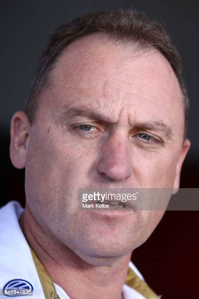 Swans head coach John Longmire speaks to the media during a Sydney Swans AFL media opportunity at Sydney Cricket Ground on September 4 2017 in Sydney...