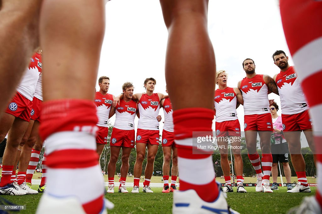 Swans players form a huddle just before kick off during the 2016 NAB Challenge AFL match between the Sydney Swans and Port Adelaide Power at Blacktown International Sportspark on February 20, 2016 in Sydney, Australia.