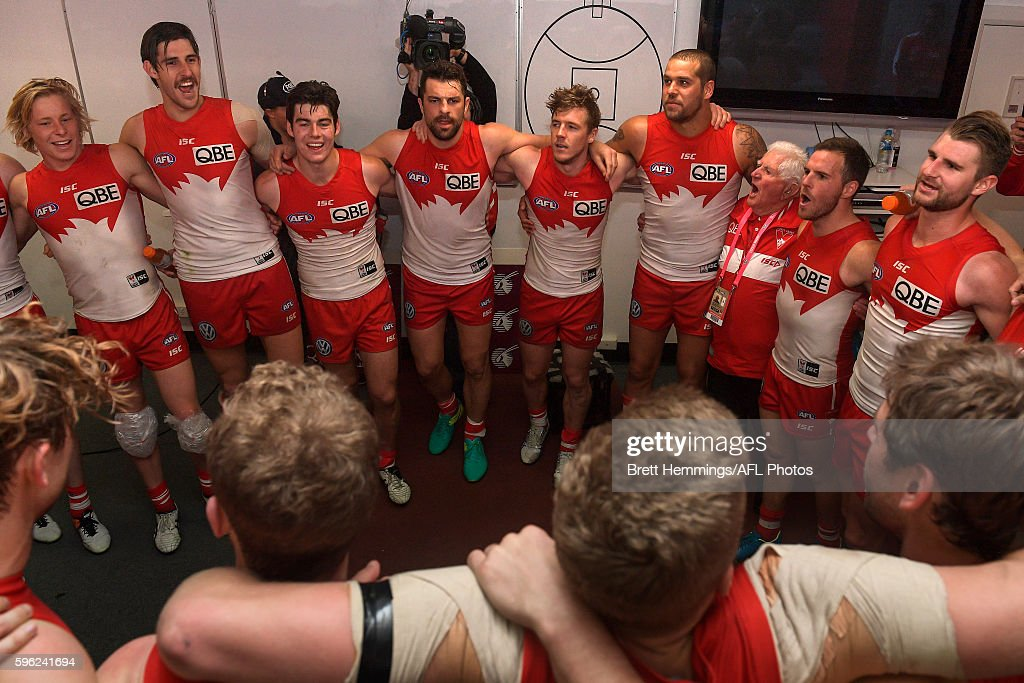 Swans players sign the team song after victory during the round 23 AFL match between the Sydney Swans and the Richmond Tigers at Sydney Cricket Ground on August 27, 2016 in Sydney, Australia.