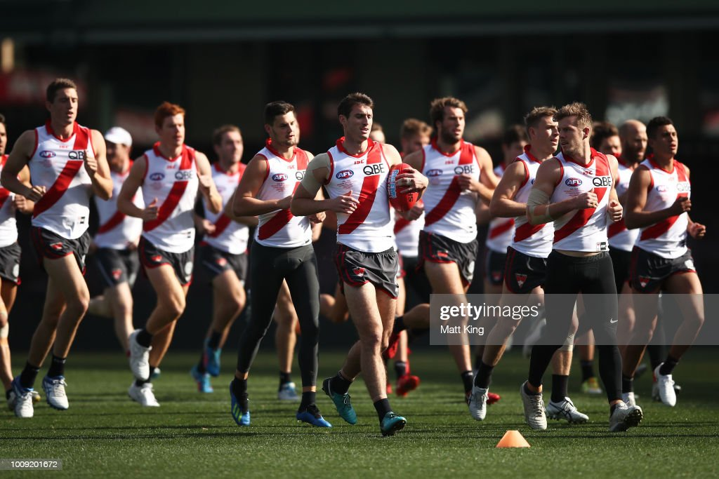 Swans players warm up during a Sydney Swans AFL training session at Sydney Cricket Ground on August 2, 2018 in Sydney, Australia.