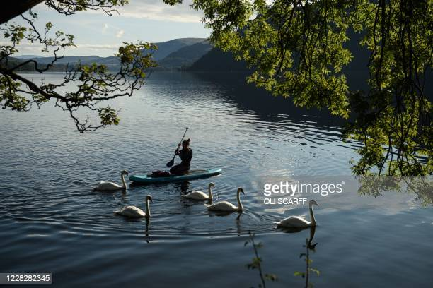 Swans swim past a paddleboarder on Ullswater in the sunshine near Glenridding in the Lake District in north west England on Bank Holiday Monday,...