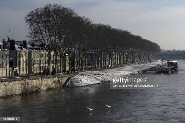 Swans take off from the Loire river in Orleans some 120 km south of Paris on February 8 2018 / AFP PHOTO / CHRISTOPHE ARCHAMBAULT