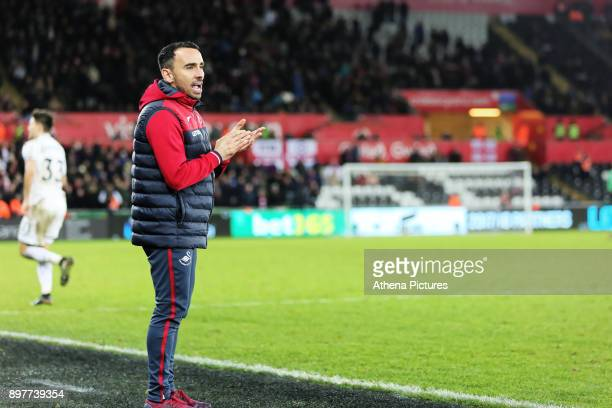 Swansea caretaker manager Leon Britton gives instructions to his players during the Premier League match between Swansea City and Crystal Palace at...