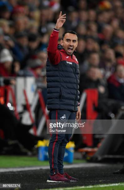 Swansea caretaker manager Leon Britton reacts during the Premier League match between Swansea City and Crystal Palace at Liberty Stadium on December...