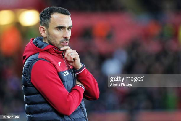 Swansea caretaker manager Leon Britton stands on the touch line during the Premier League match between Swansea City and Crystal Palace at The...
