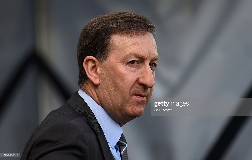 Swansea chairman Huw Jenkins looks on before the Barclays Premier League match between Swansea City and Chelsea at Liberty Stadium on April 9, 2016 in Swansea, Wales.