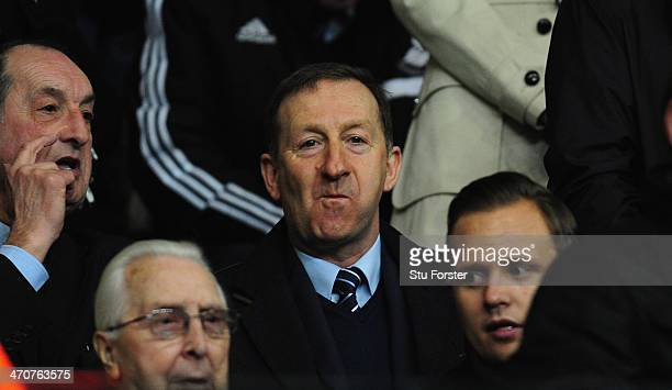 Swansea chairman Huw Jenkins looks on before the UEFA Europa League Round of 32 first leg between Swansea City and SSC Napoli at Liberty Stadium on...