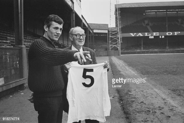 Swansea City AFC's centre half Brian Purcell talking to his predecessor Joe Sykes UK 17th February 1968