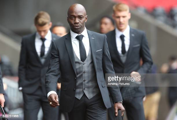 Swansea City assistant manager Claude Makelele prior to kick off of the Premier League match between Swansea City and Newcastle United at The Liberty...