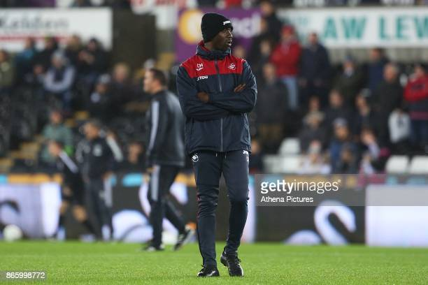 Swansea City assistant manager Claude Makelele prior to kick off of the Carabao Cup Fourth Round match between Swansea City and Manchester United at...