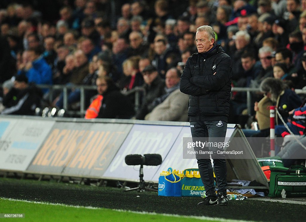 Swansea City caretaker manager Alan Curtis during the Premier League match between Swansea City and AFC Bournemouth at Liberty Stadium on December 31, 2016 in Swansea, Wales.