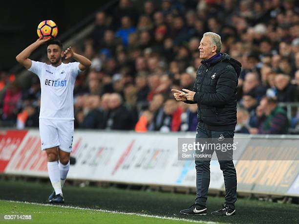 Swansea City caretaker manager Alan Curtis gives instructions during the Premier League match between Swansea City and AFC Bournemouth at Liberty...