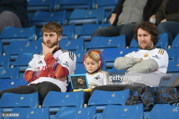 Swansea City fans look on prior to the The Emirates FA Cup Fifth Round between Sheffield Wednesday and Swansea City at Hillsborough on February 17...
