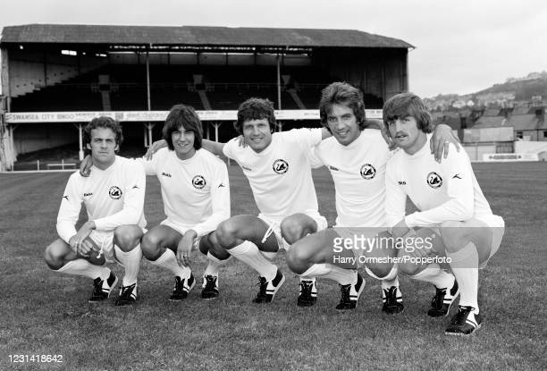 Swansea City footballers pose for a group photo at the Vetch Field in Swansea, Wales, circa August 1978. Left-right: Alan Curtis, Jeremy Charles,...