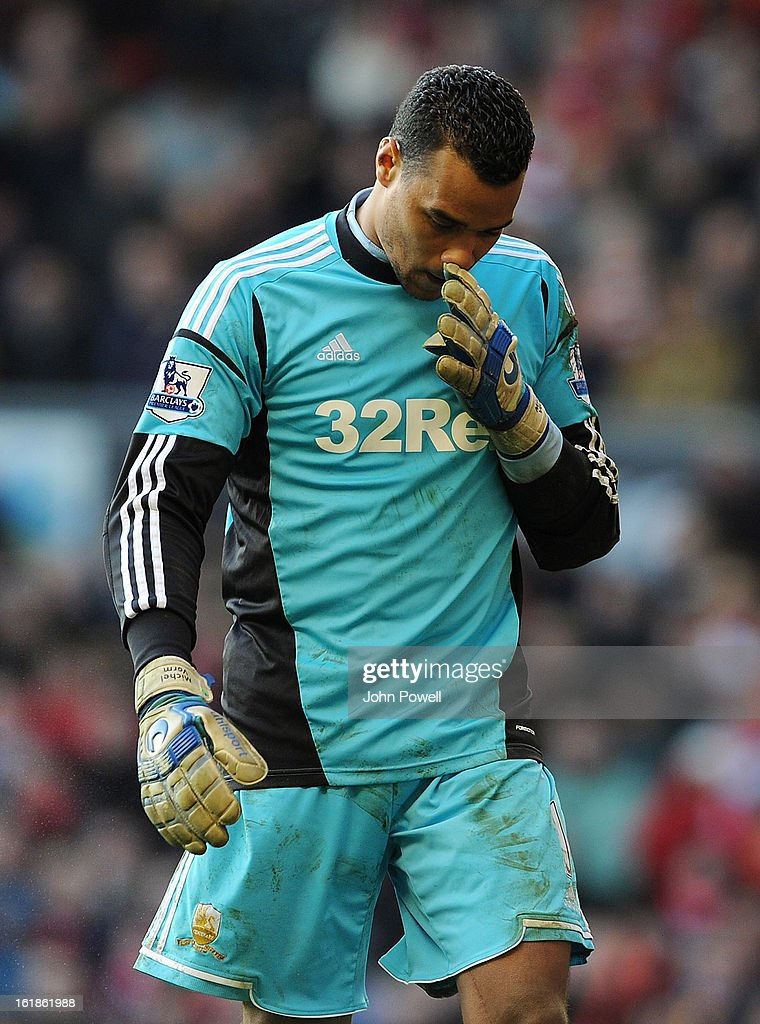 Swansea City goalkeeper Michael Vorm looks dejected during the Barclays Premier League match between Liverpool and Swansea City at Anfield on February 17, 2013 in Liverpool, England.