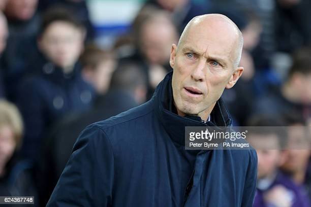 Swansea City manager Bob Bradley on the touchline during the Premier League match at Goodison Park Liverpool